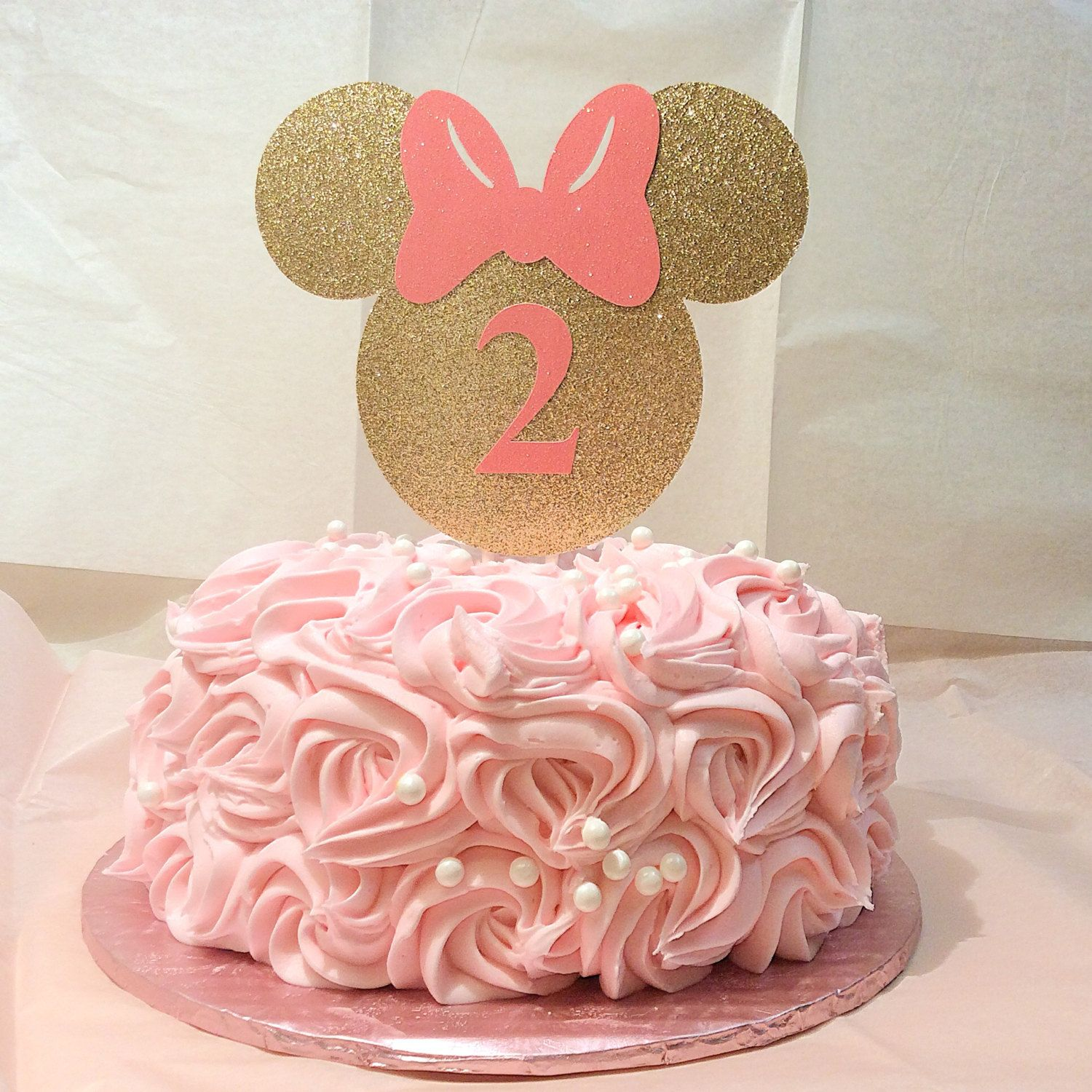 Gold And Pink Minnie Mouse Cake Topperminnie Mouse Gold Glittersmash  Cake Photo Prop Birthday Cake 35 Business Days Before Is Shipped