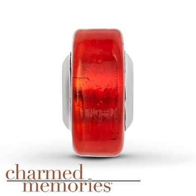 Charmed Memories Red Murano Glass Charm Sterling Silver