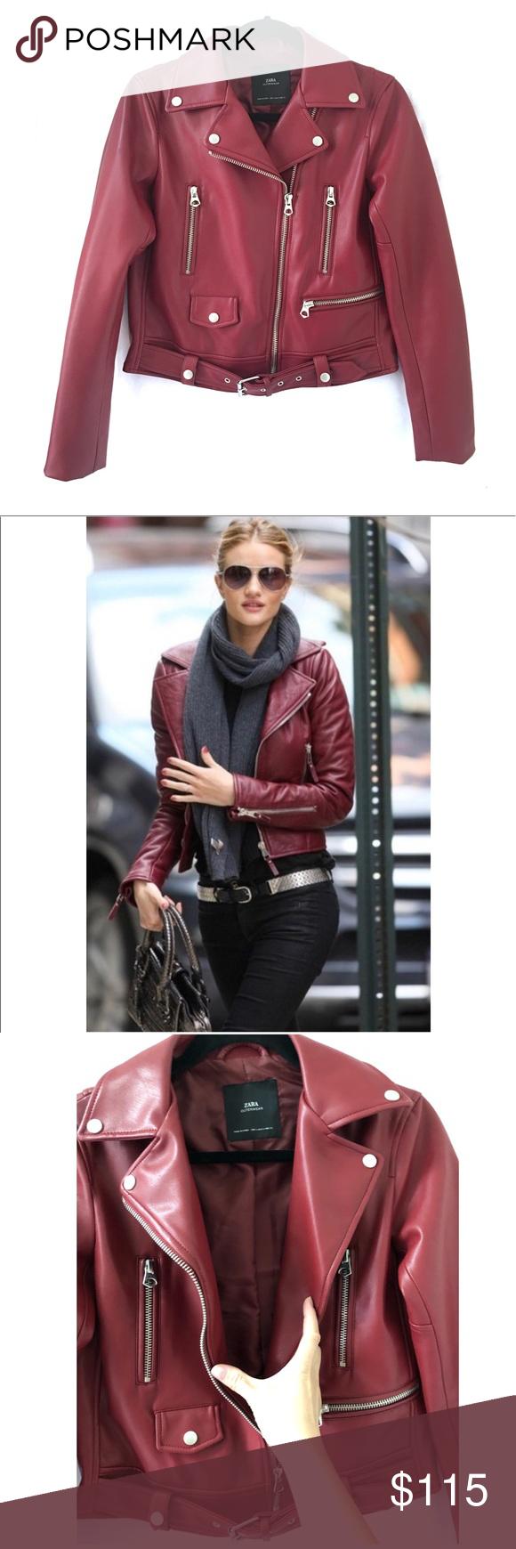 ZARA Faux Leather Moto Jacket Rare Burgundy (With images