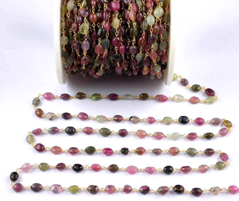 5 Foot Gold Plated Wire Wrapped Rondelle Beads Chain Necklace Multi Gemstone Beaded Chain Necklace