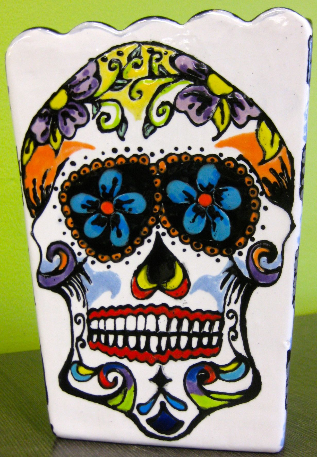 Sugar skull painted with fun writers at Art & Soul