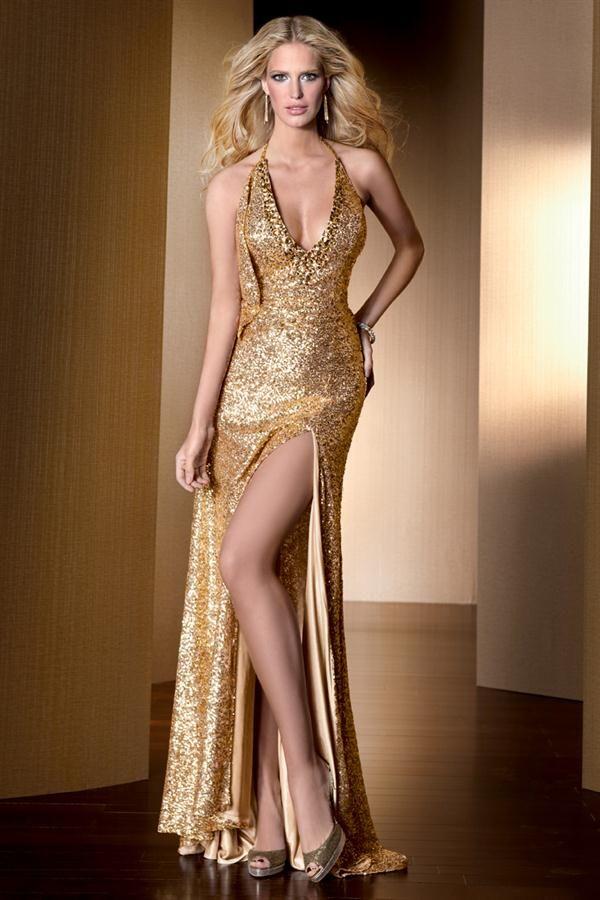 Vestidos noche largos color dorado