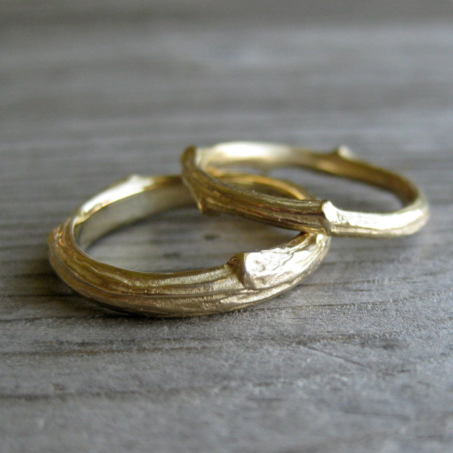 Twig Wedding Band Set In Recycled Gold 950 00 Via Etsy