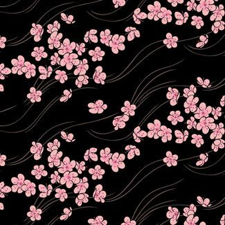 artist SULING WANG black background with pink cherry ...