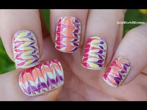Toothpick Nail Art 16 Super Colorful Drag Marble Nails Youtube