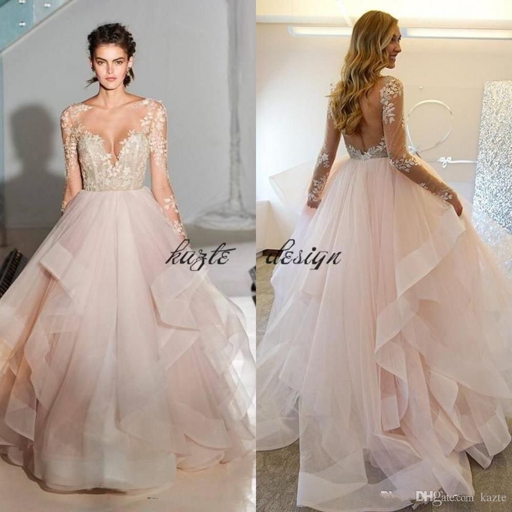 Hayley paige 2018 spring ball gown blush wedding dresses with long hayley paige 2018 spring ball gown blush wedding dresses with long sleeves sheer lace appliques bridal gowns layered tulle vestido de noiva mermaid wedding junglespirit Choice Image