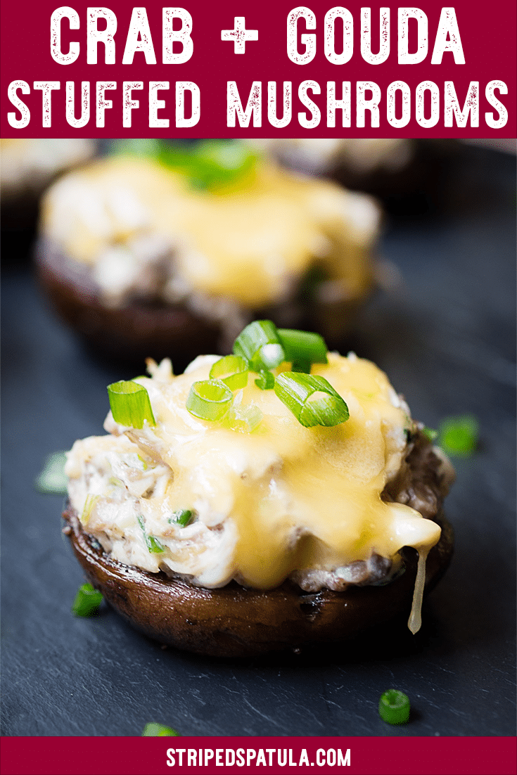 This rich Crab Stuffed Mushroom recipe, with sweet lump crabmeat, Gouda, and Dijon, is an easy appe