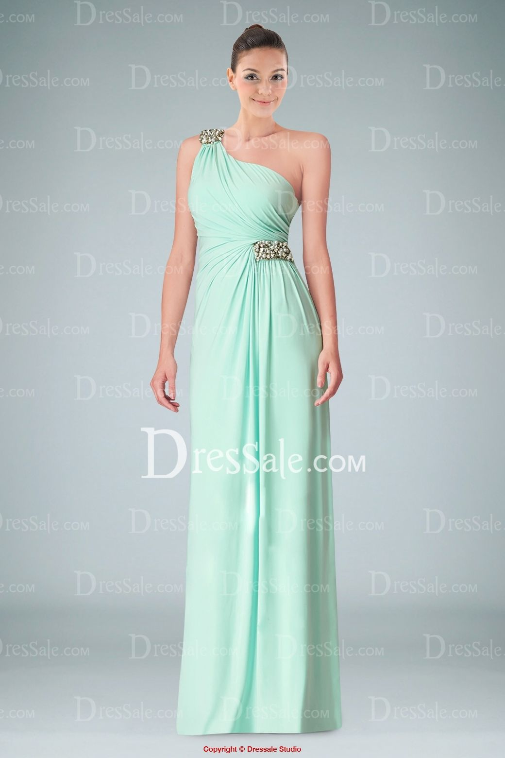 Vogue oneshoulder strap column evening dress with beaded accents