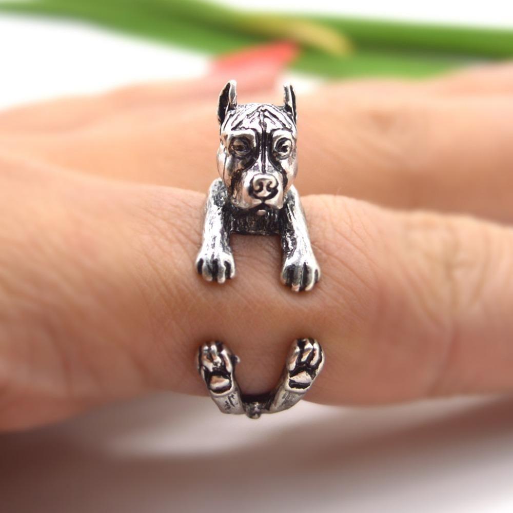 Rétro Vintage Labrador Retriever anneaux réglable chiot perro chien Anneau filles