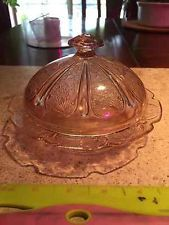 1930 Jeanette ANTIQUE Pink Depression Glass Cherry Blossom Covered Butter Dish
