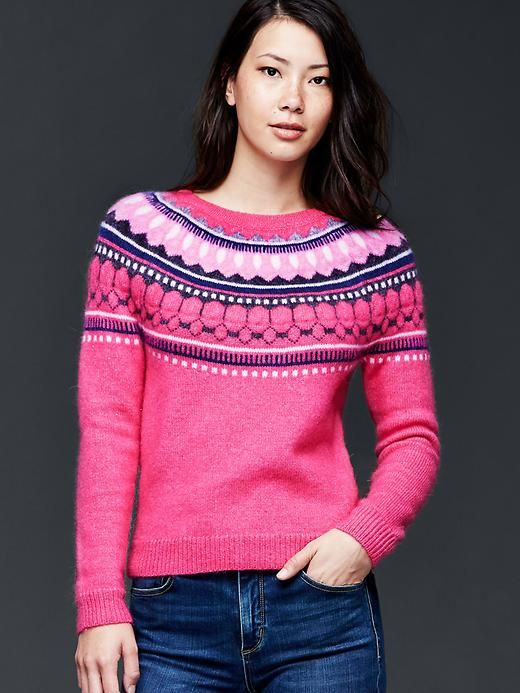 Circular fair isle sweater in Bright Pink | Gap | Wish List 2015 ...