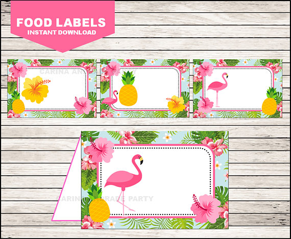 Flamingo Pineapple Party Decorations DIY Editable Printable PDF File Flamingo Pineapple Food Labels Food Tents