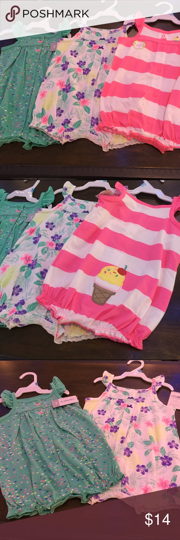 Lot of 3 carters summer rompers 6 months NWT Lot of 3 carters summer rompers 6 months NWT Carters Other