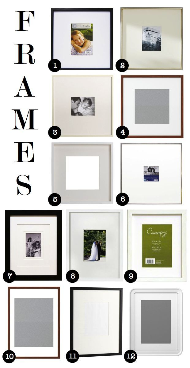 affordable frames for gallery walls 1)wal-mart 2)pottery barn 3 ...