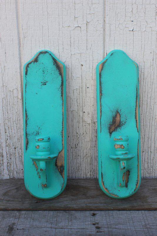 wholesale dealer 9f706 1169f Vintage Wooden Wall Sconces - Refinished Turquoise Teal ...