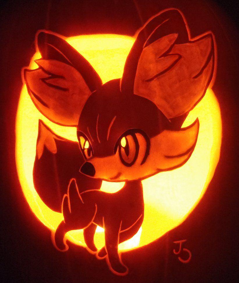 ☆ Fire Type - Fennekin Pumpkin | pumpkin carving ideas ...