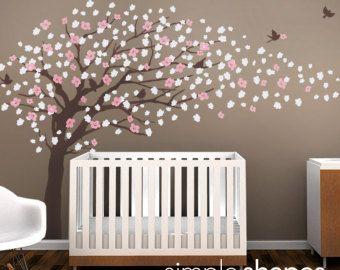 Tree Wall Decals Cherry Blossom Tree Decal Elegant Style Large Ruangan Stiker
