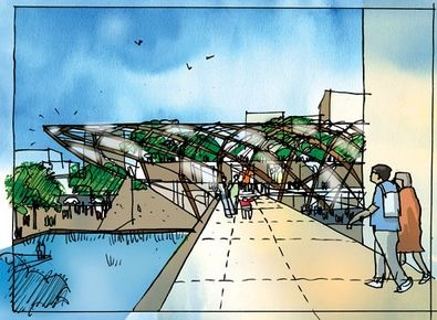 Foster and Partners' early design for Isle of Dogs Crossrail station, 2008