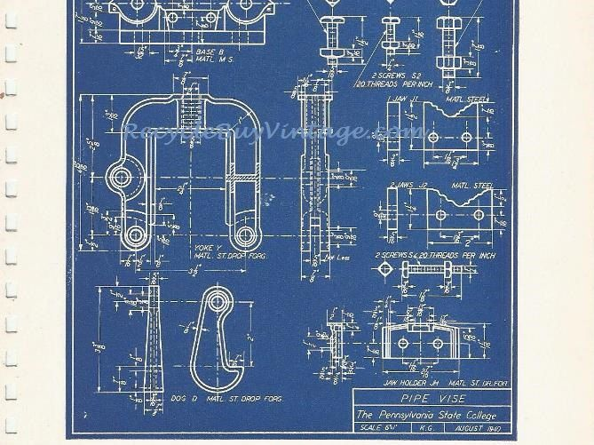 Vintage 40s industrial blueprint blue print illustration drawing vintage 40s industrial blueprint blue print illustration drawing sketch construction engineer architech image wall art home decor pipe vise by malvernweather