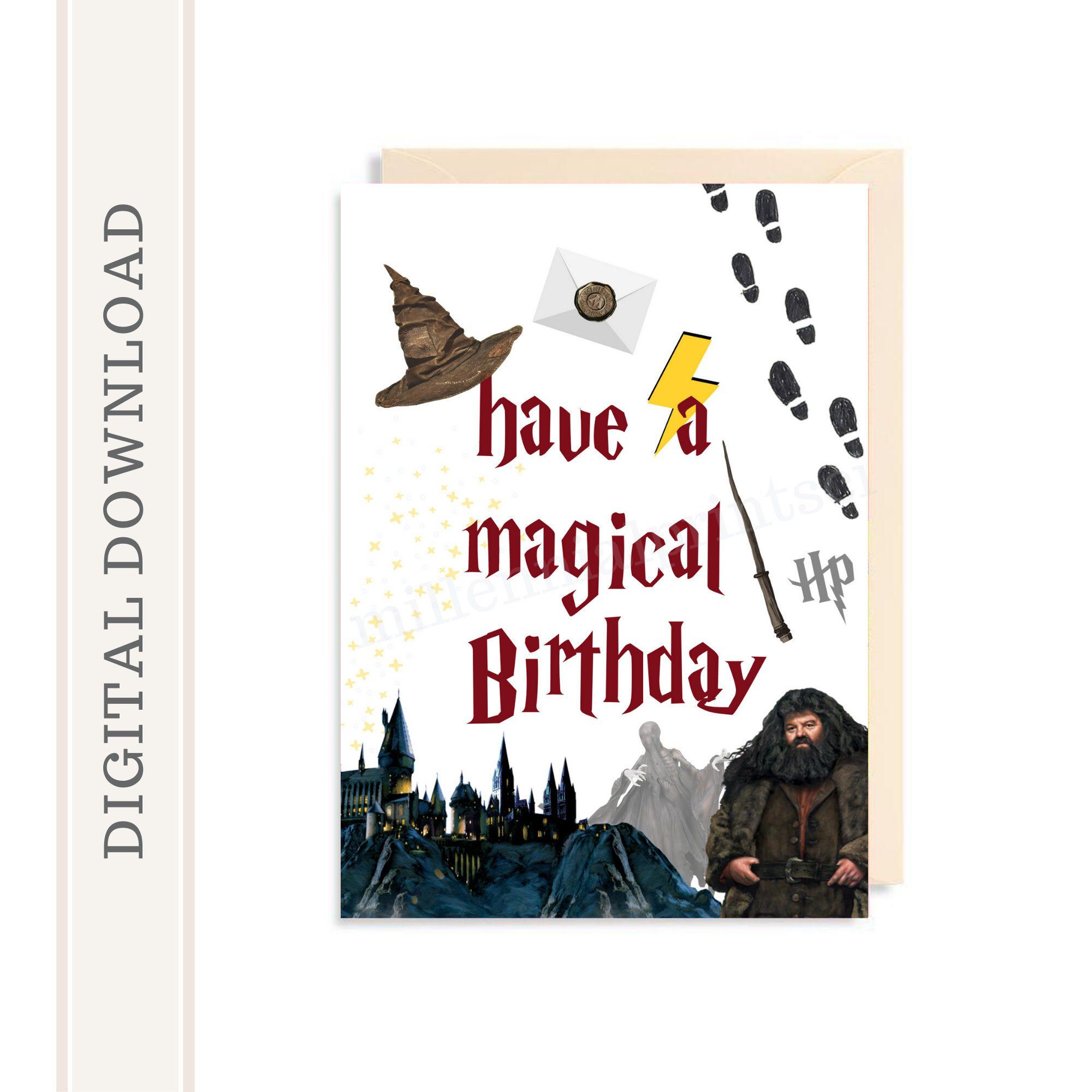 Excited To Share This Item From My Etsy Shop Printable Harry Potter Birthday Card Magical Birt Harry Potter Birthday Cards Harry Potter Cards Birthday Cards