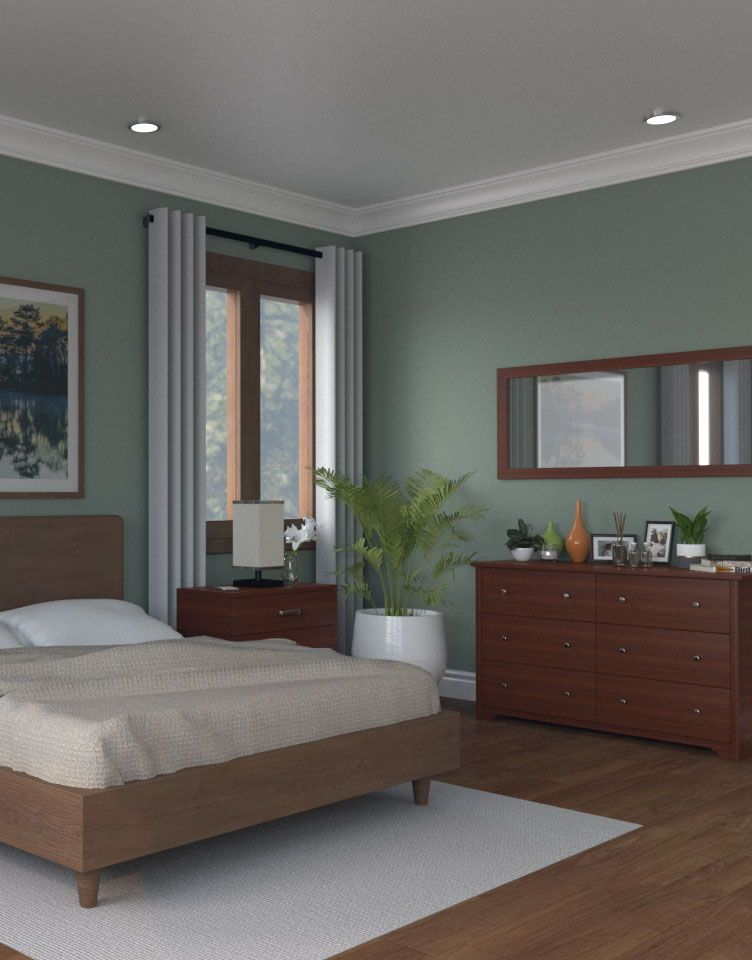 Green Bedroom With Dark Brown Furniture, Dark Brown Furniture Bedroom