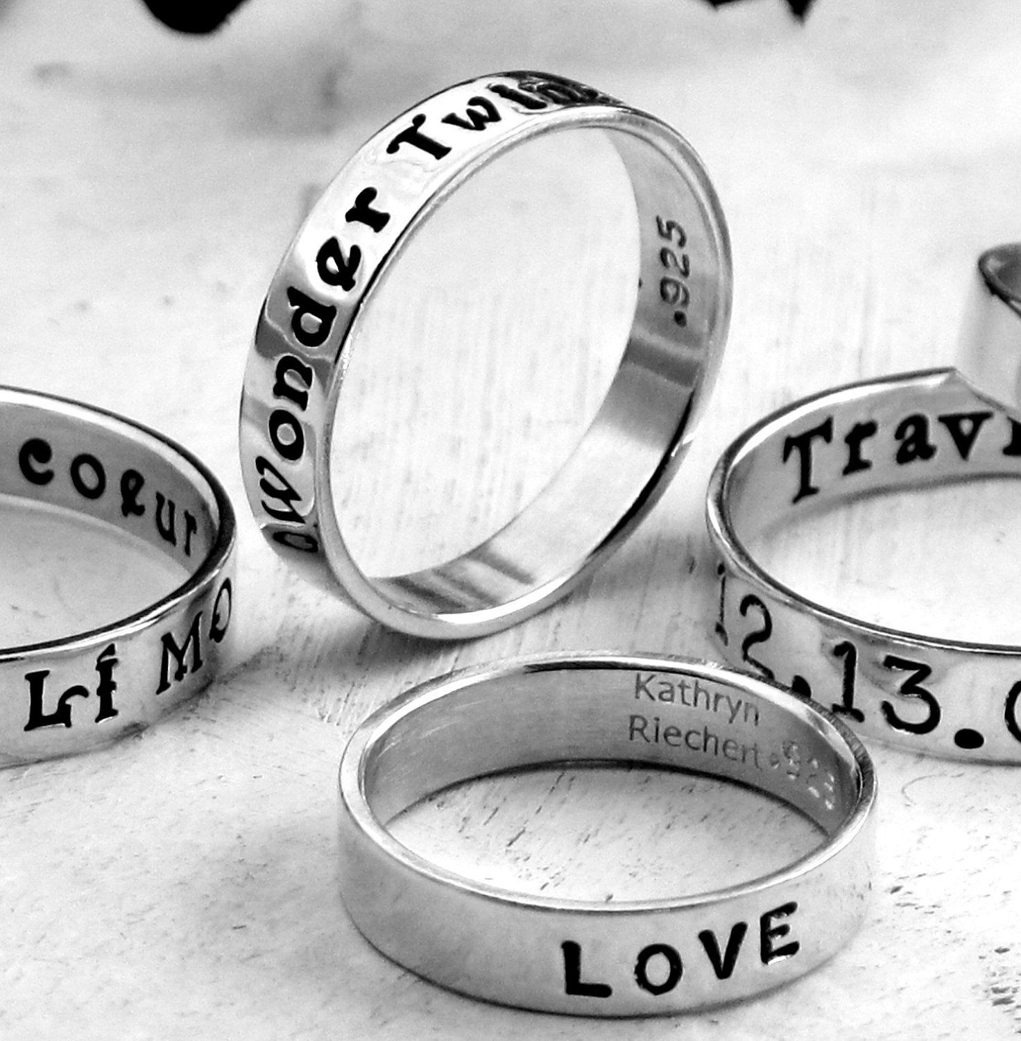 Personalized Ring Custom Hand Stamped With Your Message