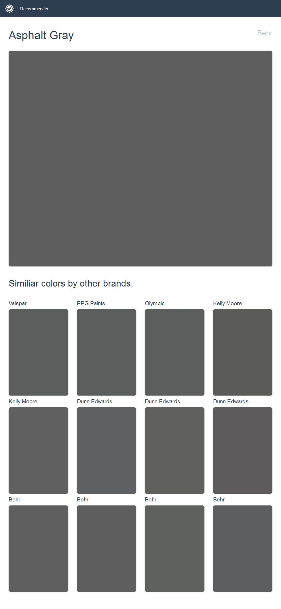 Asphalt Gray Behr Click The Image To See Similiar Colors By Other Brands