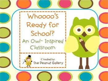$6.00 This 124 page unit has everything you need to get your classroom started with a colorful, eye-catching owl theme! Please view the preview for a sne...