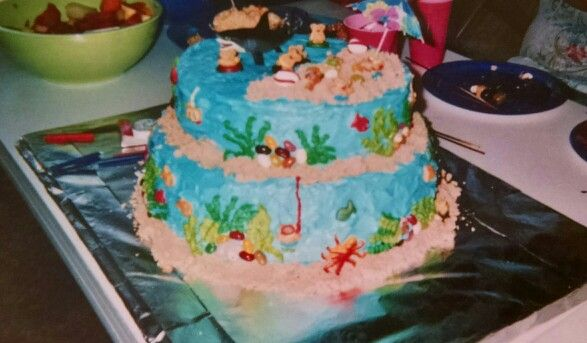 Two tier ocean beach cake.