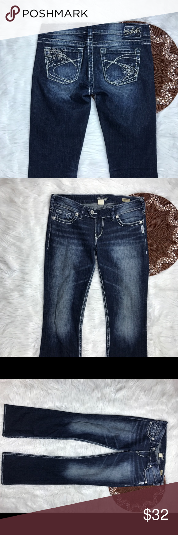 Silver Jeans Tuesday Size W29 L35 BEAUTIFUL!! Great item , please see pictures for more information   There are NO Major Flaws with this item. If you notice a flaw that we did not mention, please contact us first before leaving negative feedback. We are only human and may make a mistake once in a while.   From Smoke Free Home     Fast Shipping Silver Jeans Jeans Boot Cut