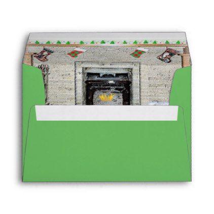 #Keeshond Christmas Fireplace Envelope - #Xmascards #ChristmasEve Christmas Eve #Christmas #merry #xmas #family #holy #kids #gifts #holidays #Santa #cards