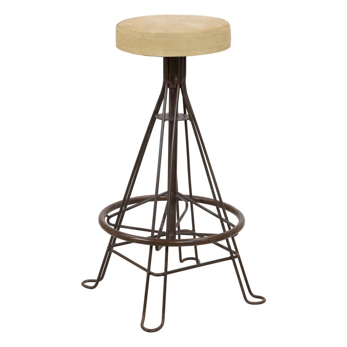 Eiffel Canvas & Iron Bar Stool // Rustic & Industrial Styled Furniture //  Buy
