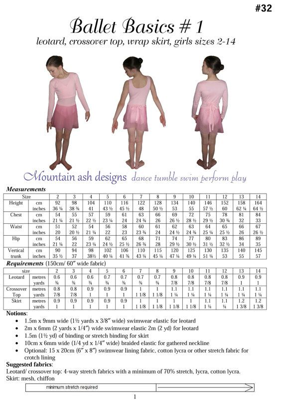 Pdf pattern ballet basics 1 ballet leotard, crossover top, wrap top ...