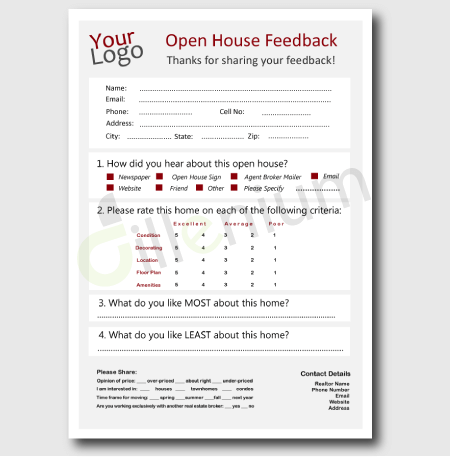 Real Estate Open House Feedback Form For Realtors  Open House
