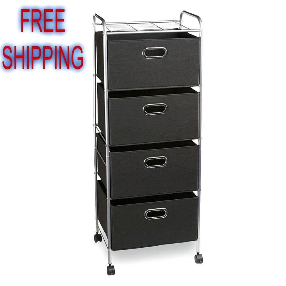 4-Drawer Wire Storage Cart Organizer Shelving Caster Wheels Folding ...