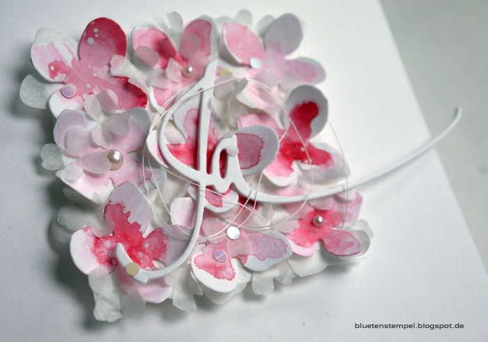 Blütenstempel: Hochzeitskarte