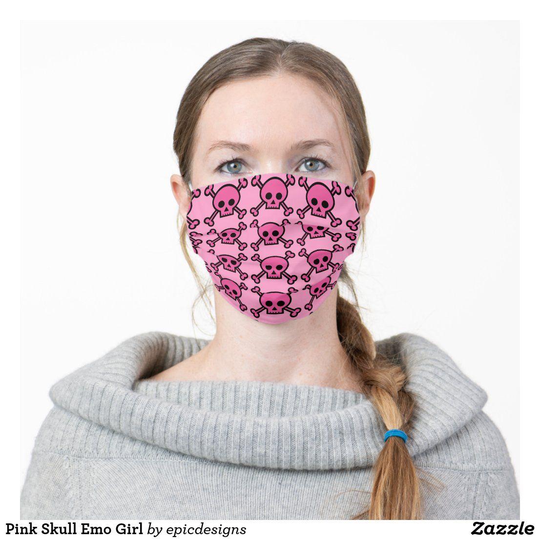 Pink Skull Emo Girl Adult Cloth Face Mask