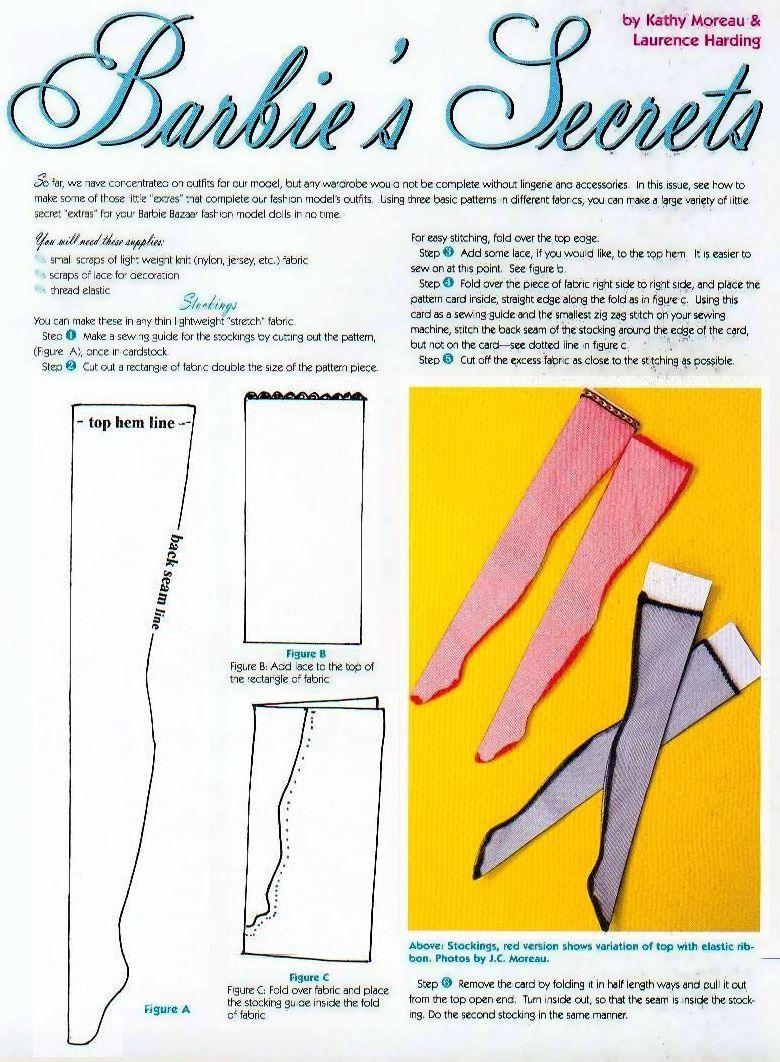 Patrones para medias para adaptar a BJD | ropa barbie | Pinterest ...