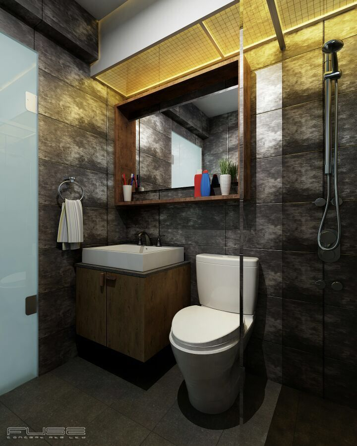 Industrial Kitchen Hdb: #HDB #bathroom #layout