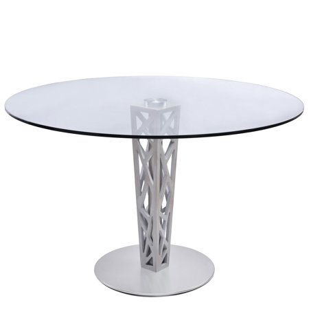 361f33409eb0 Armen Living Crystal Round Dining Table in Brushed Stainless Steel finish  with Gray Walnut Veneer Column and 48 inch Glass Top