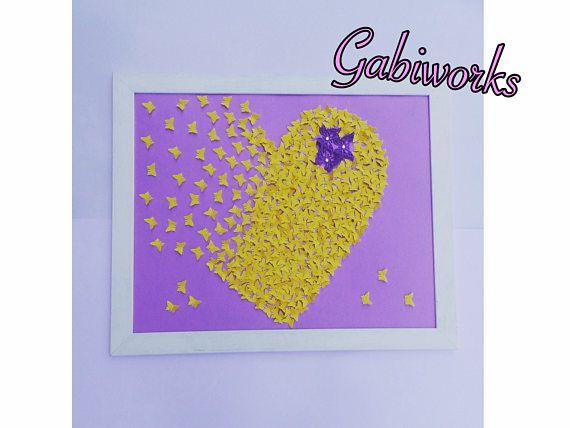 Light Purple-Yellow butterflies painting, Wall ART, 3D Paper Art ...