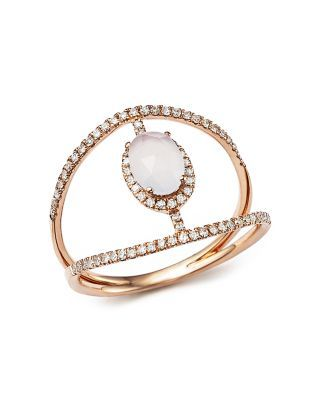 Meira T 14K Rose Gold Chalcedony Cage Ring with Diamonds | Bloomingdale's