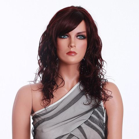 FREE SHIPPING! Wine Red Synthetic Curly Women Wig SKU076217