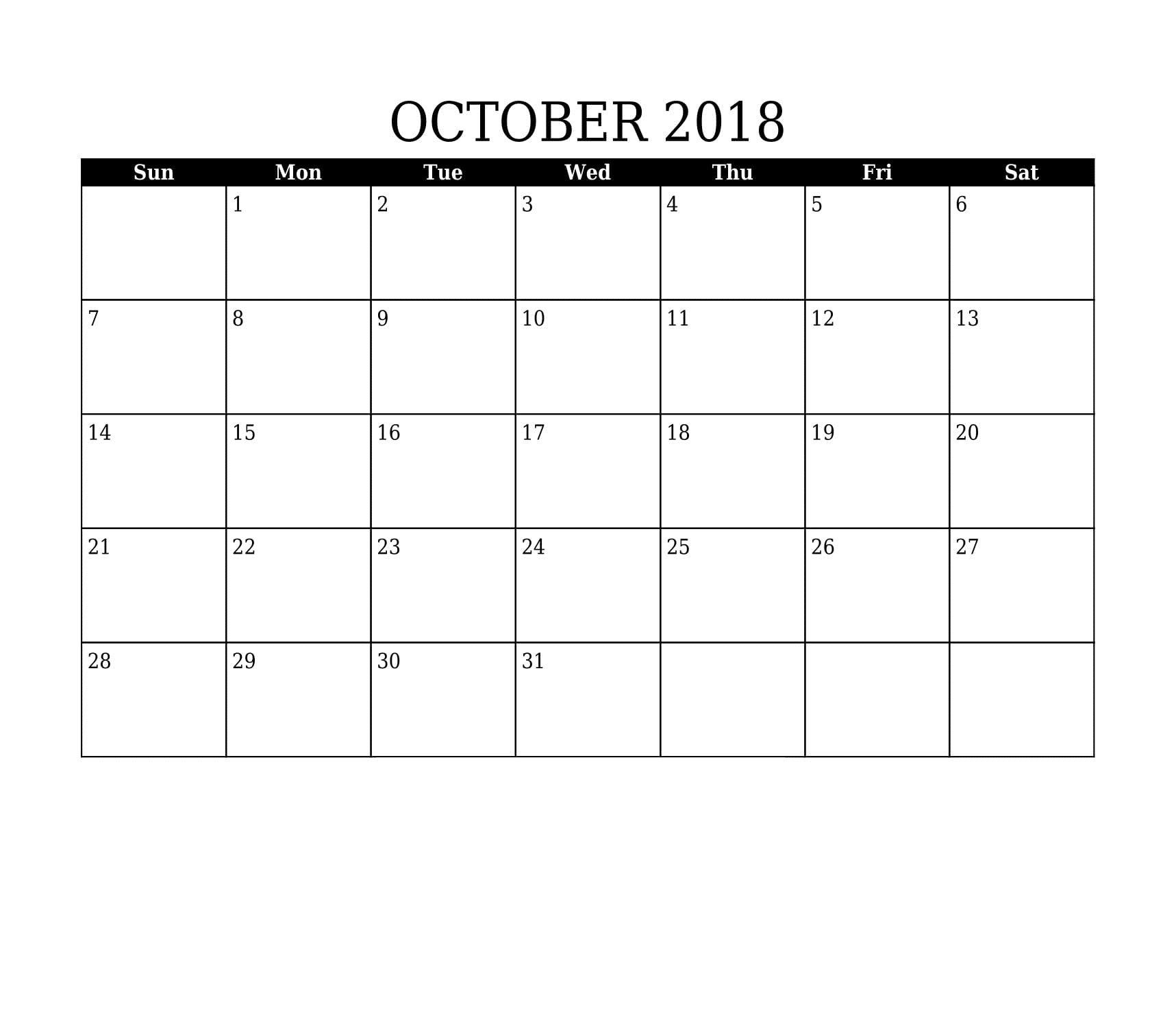 blank october 2018 word calendar