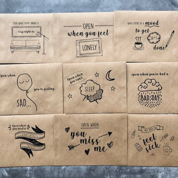 Set of Open When Letters Long Distance Valentines Gift Present For Boyfriend or ...