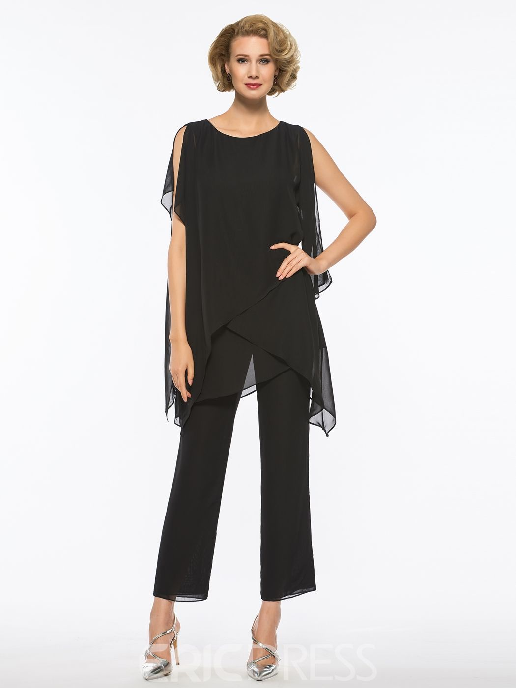 Dresses to wear to a wedding as a guest over 50  Scoop Chiffon Mother of The Bride Jumpsuit  Mother of the Bride
