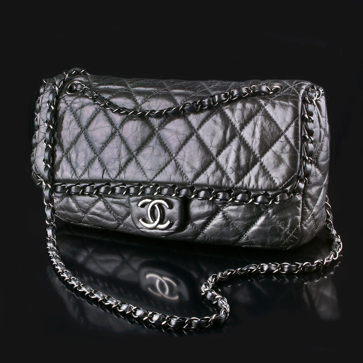 Second Hand Chanel Chain Around Cross Body Bag Anthracite Quilted Distressed Lambskin Sold Bags Luxury Bags Chanel Chain