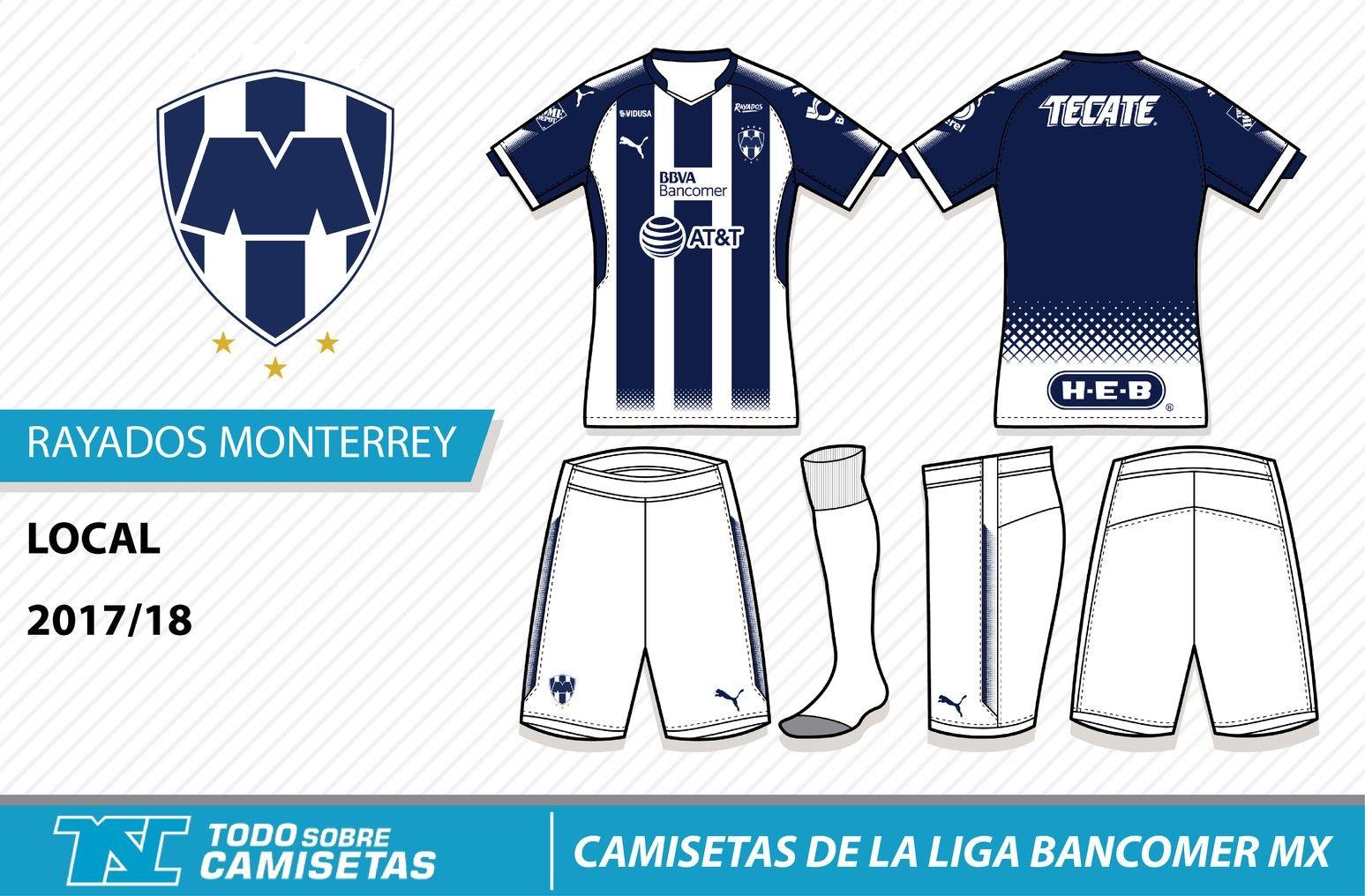 Camisetas de la Liga MX 2017-18 - Rayados Monterrey  994f62ea629ae