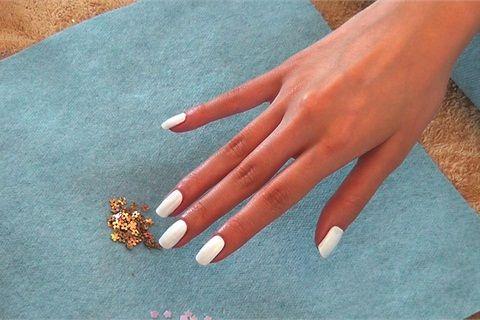 Gold Rush Nails | Acrylic nail shapes, White acrylic nails and White ...
