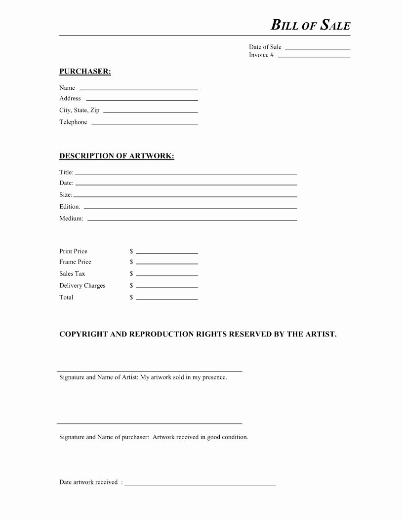 Bill Of Sale Free Elegant Free Artwork Bill Of Sale Form Pdf Contract Template Bill Of Sale Template Template Design